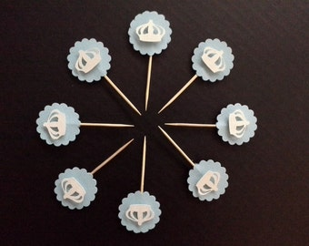 Baby Blue and Pearl White Crown Food Picks and Basic Cupcake Toppers