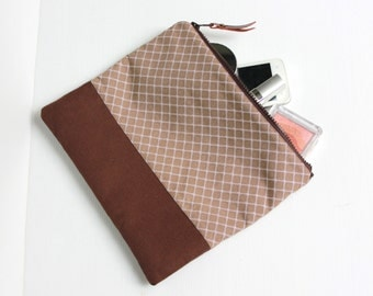 Fold Over Clutch, Foldover Clutch, Classic Brown Plaid Evening Clutch, Cotton Canvas Folded Handbag
