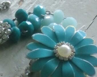 turquoise metal flower rhinestones bracelet-romantic-mixed media assemblage-arm candy