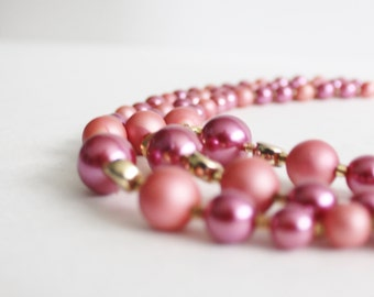 Vintage 60s Pink Three Strand Necklace - costume jewelry, two tone pink, prom, wedding