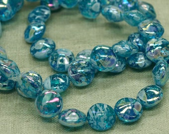Strand of 20  9mm Aqua Splattered German Glass Coin Shaped Beads. NGL622