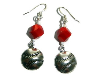 Red and White Baseball Earrings, Sterling Silver, Cincinnati Reds, St Louis Cardinals, Pick Your Team Colors