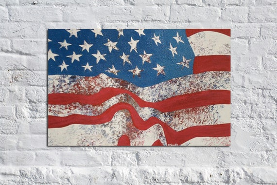 American Icon - 36 x 24 Original American Flag Abstract Art Painting