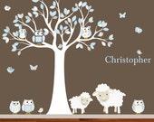 Vinyl Wall Decal  Nursery Wall Decal Vinyl Wall Decal blue chevron pattern Owl Tree Set Nursery Boy Baby