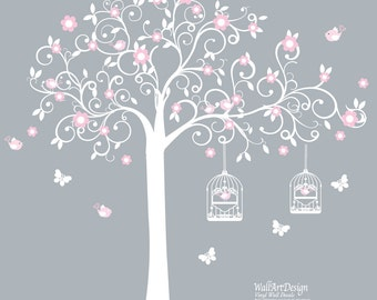 Vinyl Wall Decal  White Swirl Tree with Pink Flowers Birds Nursery Vinyl Wall Decal Sticker