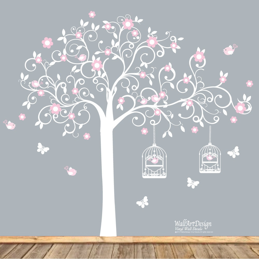 vinyl wall decal white swirl tree with pink flowers birds. Black Bedroom Furniture Sets. Home Design Ideas