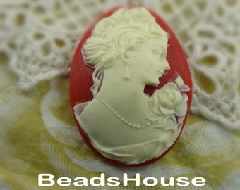 20%off - 57-00-CM  2pcs (30x40mm)Portrait Oval Cameo Pendant,Ivory on Red