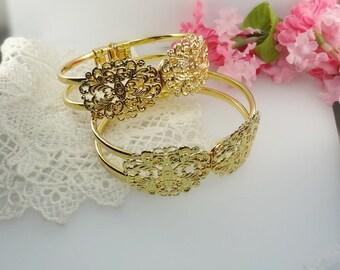20 % OFF- 2pcs Golden Plated  Filigree Cuff - Bracelet. Golden