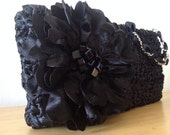 Michaela - Satin Ribbon Clutch in Black with Beaded Flower -  Wristlet to Purse - Weddings to Fun - Handmade