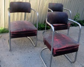 4 industrial mid century  chairs dining office armchairs price includes upholstery and paint service 3 possibly