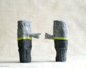Fingerless mittens gray, lime, yellow, charcoal wool unisex gloves tricolor stripe hand knitted