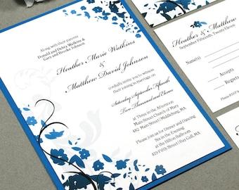 Floral Wedding Invitation Set, Black and Royal Blue Wedding Invites, Calligraphy Wedding Invitations, Flower Wedding Pocket Invitation Suite