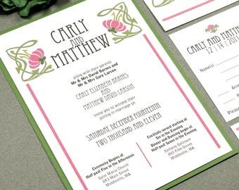 Floral Vine Wedding Invitation Suite - Art Nouveau Wedding Invitations - Vintage Wedding Invites - Floral Rose and Sage Pocket Folder Set