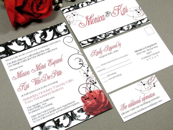 Hollywood Wedding Invitation Set Red Rose Music Note And Black