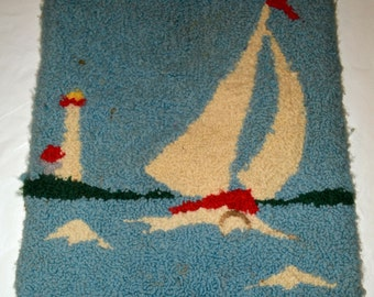 Vintage 1950s small Hooked Rug Wool on Burlap Sailboat was 20.00