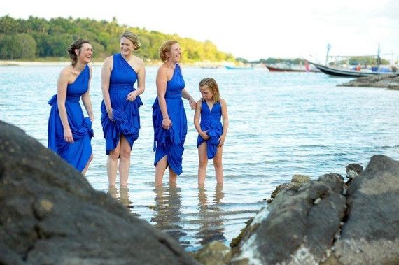 Scorpion Bay Cobalt Blue Long Octopus Convertible Wrap Gown- Bridesmaids, Wedding