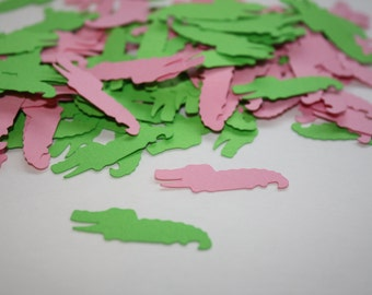 Pink and Green Alligator Die Cut Confetti Table Decor 200 pieces