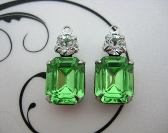 10x8 Swarovski Octagon Peridot Green and Crystal Clear Round Rhinestone in Silver Double One Ring Setting 1 Pair