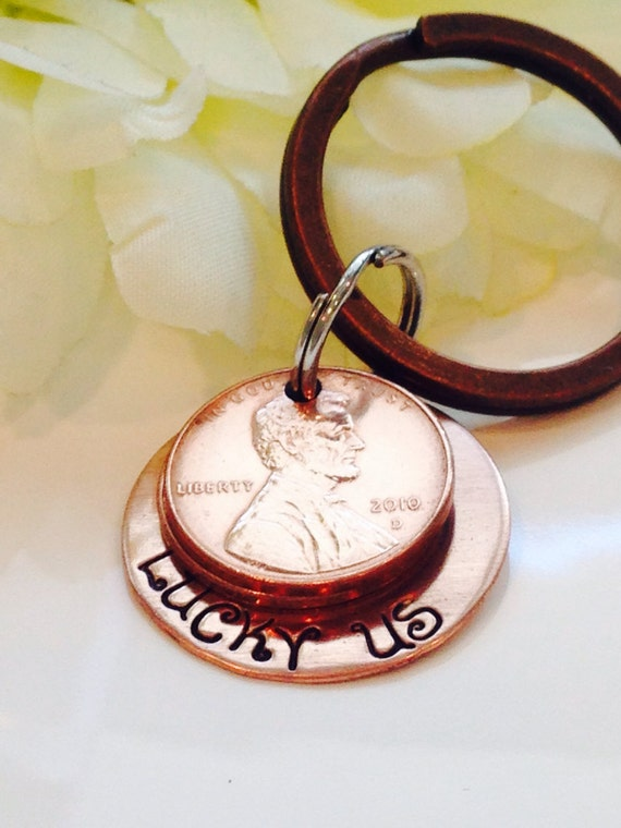 Hand stamped Lucky Us Copper Penny Key Chain with years of pennies