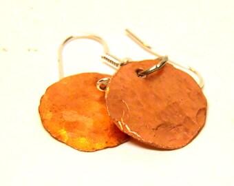Copper Earrings, Hammered Copper Round Disc Earrings with Sterling Silver, Minimalist Earrings, Industrial Jewelry, Steampunk Jewelry, OOAK