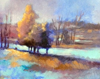 """Original Acrylic Abstract Floral  painting- Iowa Winter- 10"""" x 10"""""""