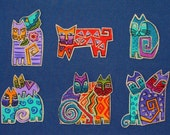 SALE*Six Adorable CAT Appliques*Handmade*Very RARE Laurel Burch Fabric/61