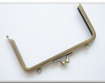 14cm rectangle antique bronze metal purse frame