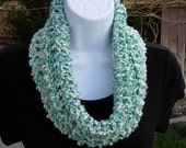 SUMMER COWL SCARF, Light Blue Green Teal & White, Small Short Infinity Loop Crochet Knit Soft Lightweight Neck Warmer, Ready to Ship