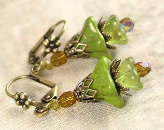 Olive Green Earrings Czech Glass Bell Flower Earrings Avocado Green Earrings Antique Gold Brass