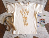 Organic Cotton Toddler Shirt - Screen Printed American Apparel kids T shirt - Giraffe Illustration - Eco Friendly - Handmade (You pick size)