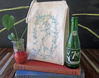 Lunch Bag - Screen Printed Lunch Bag - Reusable Lunch Tote - Recycled Cotton - Eco Friendly Lunch Box - Handmade Canvas Tote Bag - Mermaid