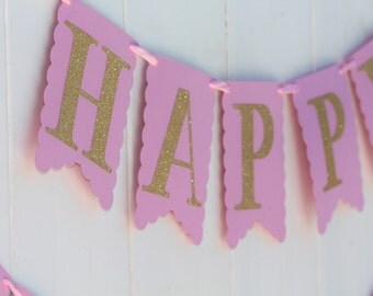 Light Pink and Gold Glitter Birthday Banner | Name Banner | Photo Prop | Personalized