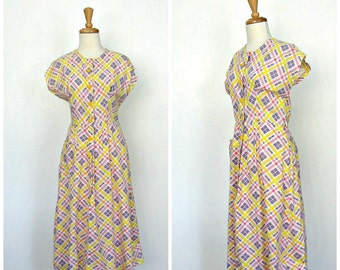 1960s Full Skirt Dress - 60s dress - swing dress - cotton sundress - fit and flare - madras  - Medium