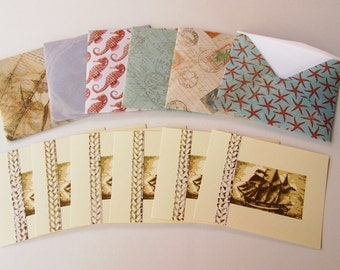 CLEARANCE SALE /// Handmade Nautical Note Cards, Set of 6 Seven Seas Collection - Flat notes with handmade envelopes