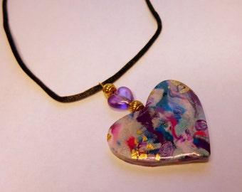 Heart Pendant Heart Necklace Purple Heart Pendant Purple Heart Necklace Valentine's Day Pendant