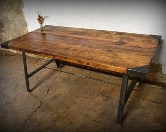 Reclaimed Wood A-Rod Dining Table