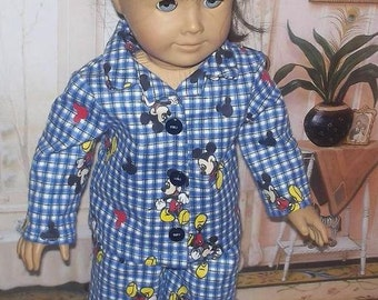 """Mickey Mouse blue plaid flannel pajamas fits 18"""" American girl dolls"""