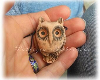 clay pendant OWL  handmade