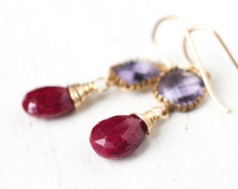 Purple and Red Ruby Earrings in 14k Gold, Delicate Gold Dangle Earrings with Connector, Under 50
