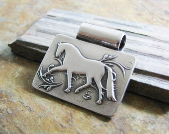 Silver Horse Pendant, Handmade, SilverWishes Original Design, Dressage Jewelry