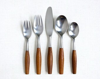 Fjord Starter Set  - Dansk Fjord Flatware Service for 4 Teak Wood Handle Made in Germany Mid Century Modern