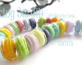 SRA 24 Swrily Beads, Spring Colors, Blues, Purples,Pinks,Yellows,Oranges,Greens Organic Shaped Glass by Leese