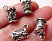 Spool of Thread w/ Sewing Needle Charms (4pcs / 10mm x 15mm / Tibetan Silver) Seamstress Sewer Tailor Charm Mother Bracelet Pendant CHM1069