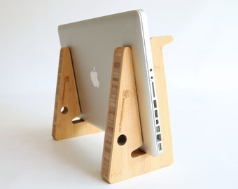 Wood laptop stand, macbook pc portable computer riser, ergonomic working for your desk and on-the-go. Made from 3cm thick bamboo wood.