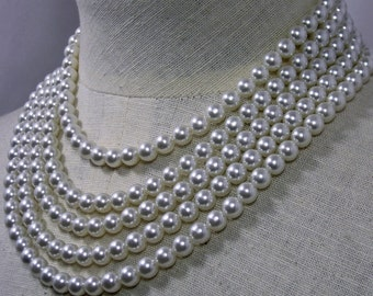 5 Strand 7.5 mm   Faux Pearl Necklace  1960s NEW OLD STOCK  cSc 393