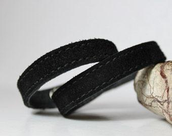 SALE,Black Suede Narrow  Double Wrap Bracelet