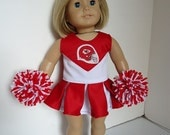 Kansas City Chiefs Cheerleader for American Girl Doll, gym shoes, pompoms