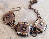 Mixed Metals Bracelet, arte metal, brass, riveted, hammered, altered