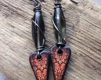 SALE!! Originally 24, now 15! Heart of my Desire, artisan earrings, wood, czech glass, grey, red, vintaj, jlynn jewels, wire wrapped