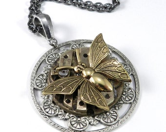 Steampunk Necklace - CLEARANCE SALE, Clockwork Butterfly Watch Movement Brass on Silver, Steampunk Jewelry by Compass Rose Design